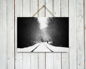 Winter Rail Road - Christmas Decor - Rail Road photo - Winter photography -  - Christmas art - 32x48 in.