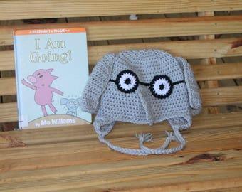 Made to Order crochet Gerald hat, Elephant, Mo Willems, Piggie and Gerald Adult Teacher