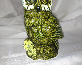 Green Owl Planter Vintage 1970