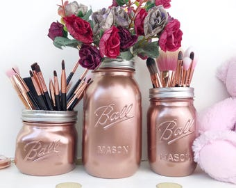 Rose Gold home Decor, Copper Mason Jar, makeup brush holder, rose desk accessories, rose gold baby shower, makeup organizer, rose gold party
