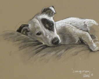 Terrier dog art canine dog lover dog gift LE print from an original chalk and charcoal available unmounted or mounted ready to frame