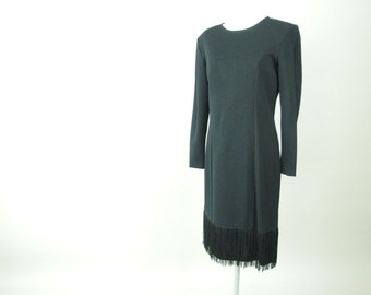 Black Fringed Dress, Vintage 1980's Black Wiggle Party Dress, Modern Size 6 to 8, Small