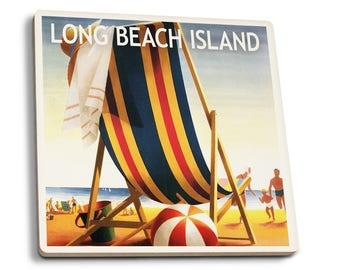 Long Beach Island Beach Chair & Ball - LP Artwork (Set of 4 Ceramic Coasters)