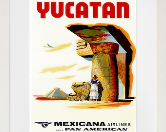 Yucatan Mexico Vintage Travel Poster Wall Art Print (ZT441)