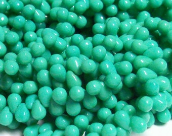 50 - Czech Glass 4x6mm Top-drilled Teardrop Beads - Bohemian Drops / Spacer Beads / Accent Beads / Jewelry Supply - Opaque Turquoise Green