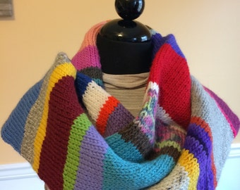 Recycled Rainbow Scarf - Rainbow Scarf - Knit Rainbow Scarf - Rainbow - Knit Scarf - Huge Scarf - Long Scarf - Tube Scarf - Dr Who Scarf