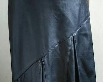 Maxi black leather skirt 80's