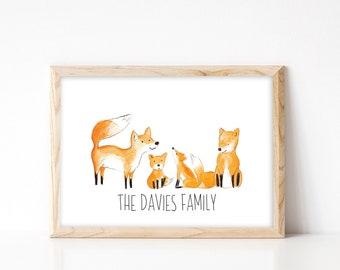Fox Family Portrait - Custom Family Tree Print - Nursery Wall Art - Personalised Family Portrait - A4 Fox Family Art Print