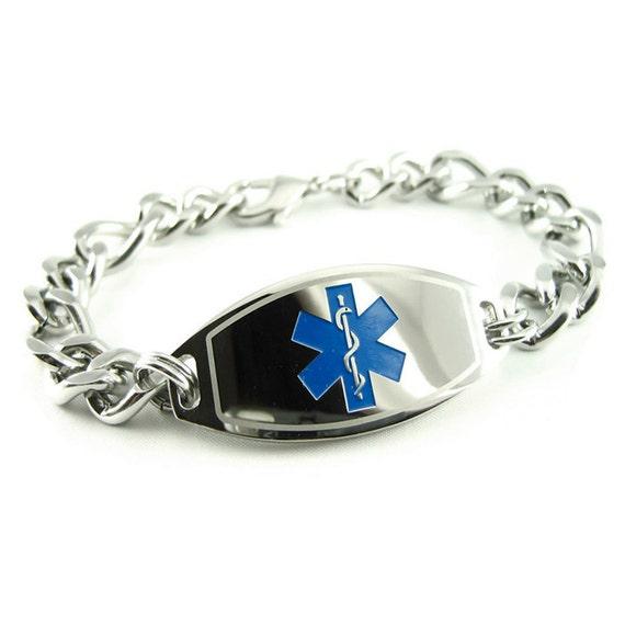 Medical Alert Bracelet Thick Mens Chain Custom Engraved Free