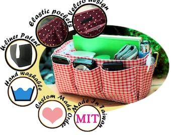 Purse Organizer Insert handmade gift / Extra Sturdy / Red Black Plaid / Large 25x10cm