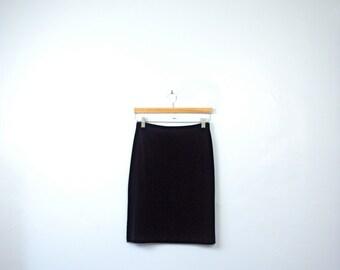 Vintage 90's velvet skirt, black velvet skirt, black pencil skirt, 90s skirt, size medium / small
