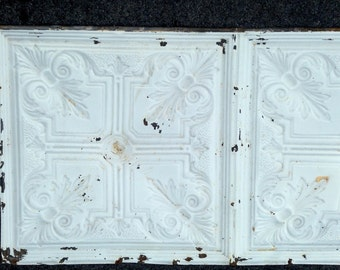 """Large antique ceiling tile salvaged tin architectural salvage Victorian wall art chippy white church ceiling tin 24""""x48"""" multiple available"""