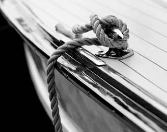 Get 20% OFF Today Nautical decor, Black and white coastal art, Lake house decor, Boat decor, Nautical art / Chris Craft yacht Rope & Cleat