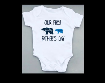 FATHER'S DAY baby bear personalised bodysuit, babygrow, vest in white with blue pink or black print