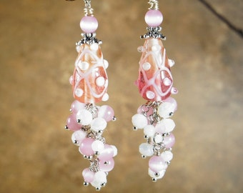 Dangle Earrings, Lamp Work Glass Beads and White and Pink Crystals with Silver Tone Metal Accents and Spacers on Nichol Free Studs