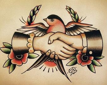 Swallow Handshake Traditional Tattoo Flash
