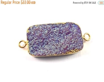 Summer Sale 50% 1 Pc Mystic Purple Duzzy Electroplated Drusy 24k Gold Plated Double Bail Connector , Druzzy Electroplated With Gold Edge 36m