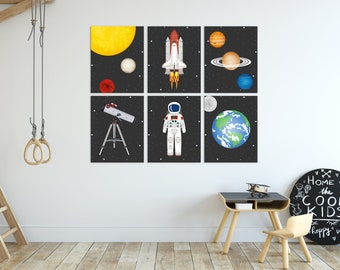 Outer Space Decor, Planet Prints, Outer Space Kids Decor, Astronaut Art, Set of 6