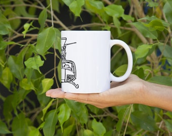 KillerBeeMoto:    Bell Huey Helicopter Front View Coffee Mug (White)