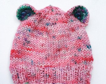 baby hat with ears - handknit - READY TO SHIP
