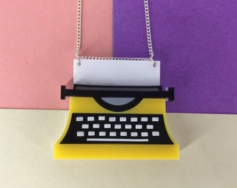 Typewriter necklace, letters, handmade necklace, yellow necklace, perspex jewellery, perspex jewelry, perspex necklace, fun necklace