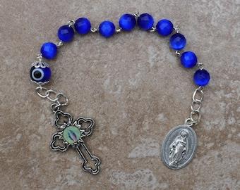 Miraculous - 8mm Cobalt Blue Cats Eye Glass One Decade Rosary Chaplet
