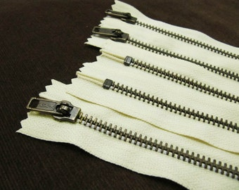 10inch - Cream Metal Zipper - Brass Teeth - 5pcs