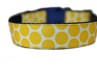 "Yellow Polka Dot Dog Collar 1"" Yellow Dog Collar"