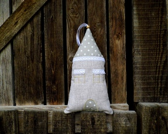 Linen And Lace Fabric House, Polka Dotted Fabric House, Door Hanging, Country Home, Vintage Decoration, Romantic Decor, Rustic Home Decor