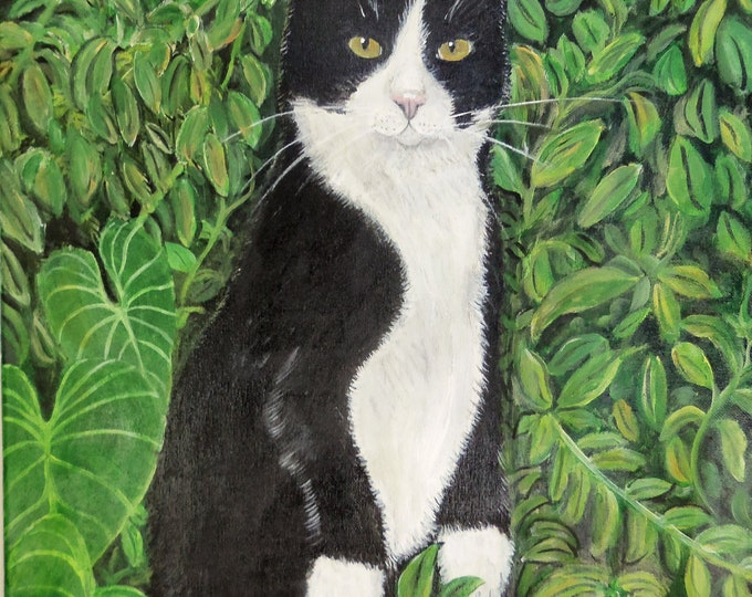Kitty in the woods Original Painting Free Shipping USA