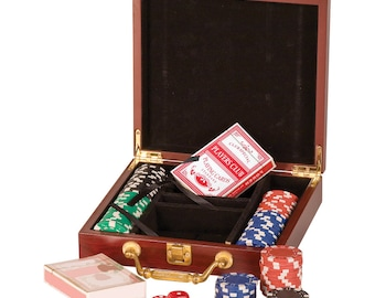 Personalized poker chip set with cards and dice, Christmas gift for man, dad, brother