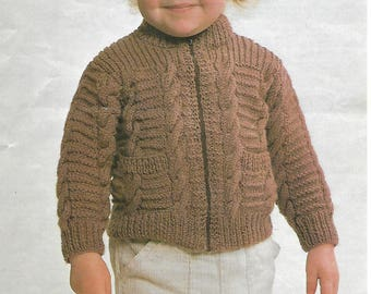 knitting pattern, children's jacket, sizes 20-26 in, pdf, digital download, instant donwload