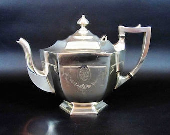 Antique Victorian Tea Pot in Silver Plate by Holmes and Edwards Silver Co. Circa 1880's - 1890's.