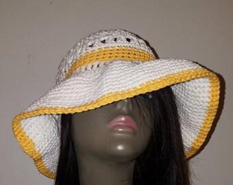 Woman's White and Gold Cotton Criss Cross Crochet Sun Hat/ Floppy Hat.