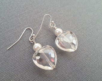 Clear Faceted Heart and Pearl Earrings