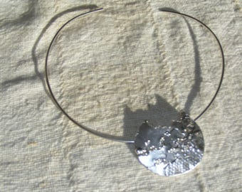 Silver Free Form Circle Pendant