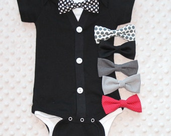 Baby Boy Cardigan and Bow Tie Set, Baby Suit, Baby Tuxedo, Bow Tie Outfit, Baby Boy Outfit, Baby Gift