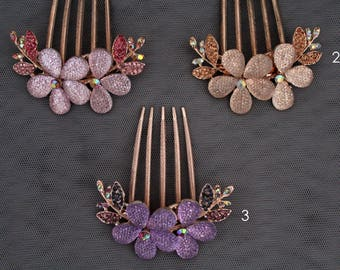 Flower shape Decorative bridal hair comb, purple, pink, beige hair combs