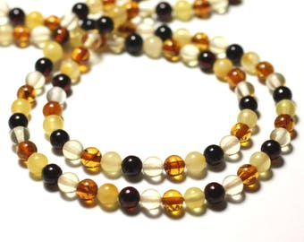 4pc - multicolor natural amber beads balls 5mm - 8741140014114