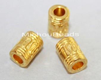 25 Bright GOLD 10mm TIBETAN Style Tube Barrel Beads - 10x6mm w/ Large 3.5mm Hole Nickel Free Metal Tube Boho Beads - USA Seller - 5744