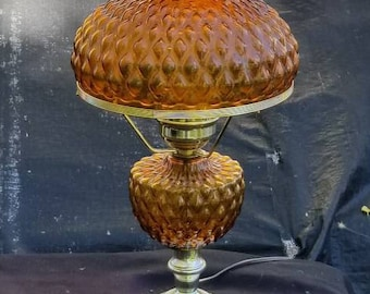 Vintage Fenton Amber Quilted Glass Electric Table Lamp