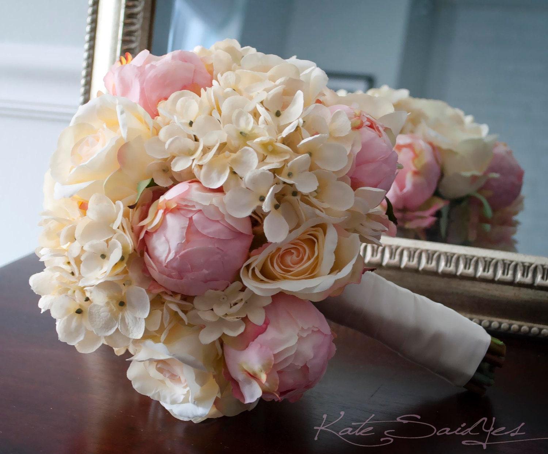Shabby Chic Wedding Bouquet Peony Rose and Hydrangea Ivory