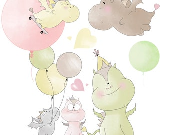 Dragons and balloons clipart, birthday clipart