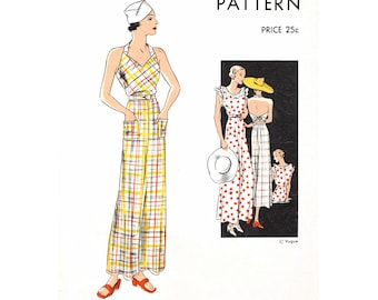30s 1930s jumpsuit vintage women's sewing pattern reproduction // pinafore overalls // beach pajamas // bust 32 34 36 38 40