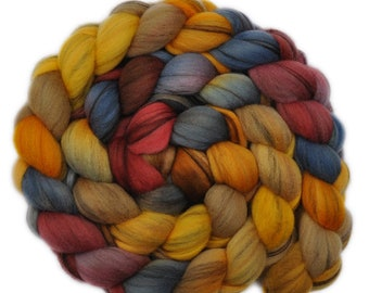 Hand dyed roving - 21.5μ Merino wool combed top spinning fiber - 4.0 ounces - Hard Road Ahead 2