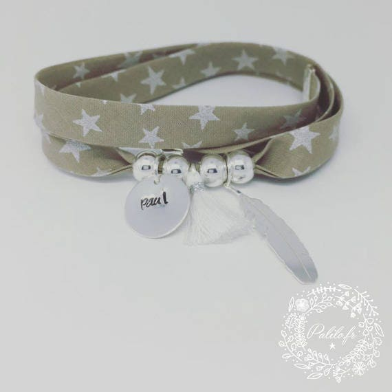 Personalized Bracelet GriGri XL Liberty star with custom engraving, feather silver and tassel by Palilo
