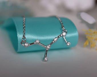 Virgo Constellation Sterling Silver/Stainless Steel Necklace, Constellation Necklace, Silver Necklace, Zodiac Necklace, Zodiac Jewelry