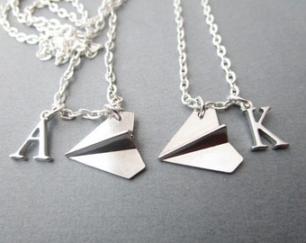 2 Paper Airplane, Initial Best Friends Necklaces