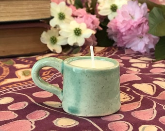 Small Mint Green Patchouli and Jasmine Scented Candle