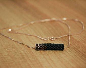 perlenROLLE Halskette in geometrischer Form, schwarz, kupfer